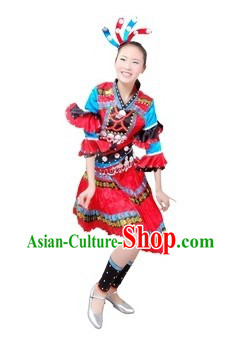 Chinese Miao Ethnic Dancing Costume and Headpiece for Women