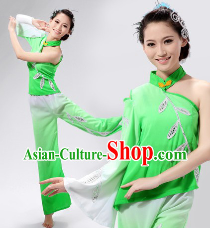 Green Chinese Han Ethnic Fan Dancing Costume for Women