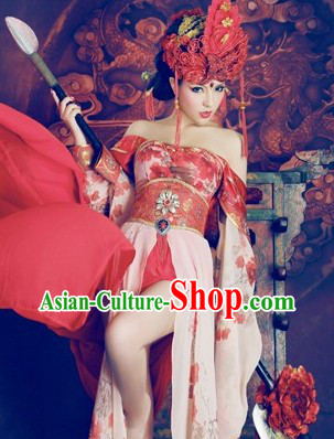 Chinese Classical Sexy Heroin Costumes and Headpiece