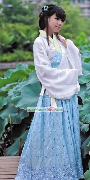 Traditional Chinese Han Fu Embroidered Orchid Clothing for Women