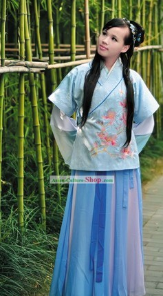 Ancient Chinese Han Dynasty Embroidered Girl Costumes