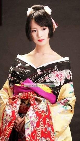 Traditional Japanese Geisha Kimono Complete Set for Women