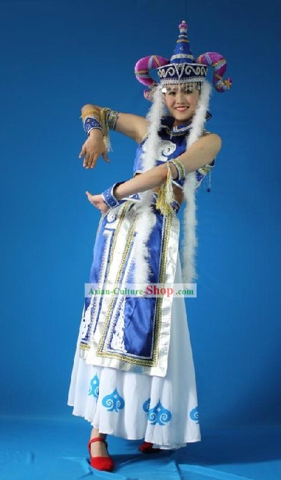 Chinese Mongolian Princess Costumes and Hat for Women