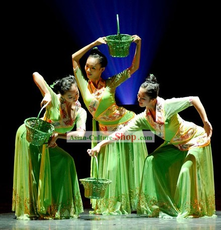 Chinese Picking Mulberry Leaf Dance Costume for Women