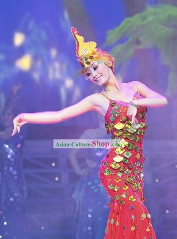 Mermaid Stage Performance Dance Costume and Hat for Women