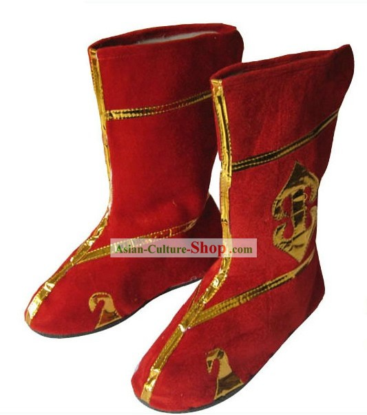 Traditional Stage Performance Red Boots for Both Men and Women