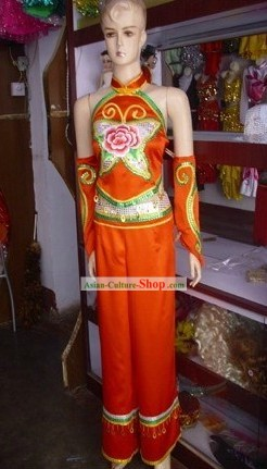 Traditional Chinese Yangge and Fan Dance Costume for Women
