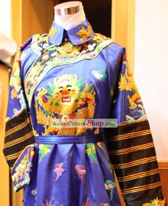 Qing Dynasty Embroidered Dragon Emperor Clothing for Men