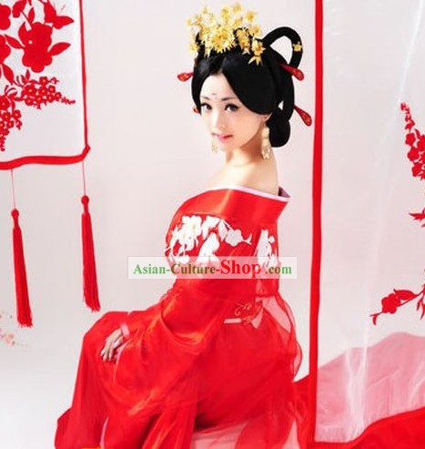 Ancient Chinese Tang Dynasty Bride Wedding Dress Complete Set