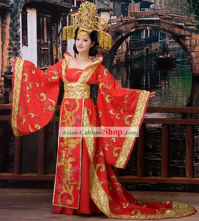 Traditional Chinese Wedding Phoenix Dress and Crown for Brides