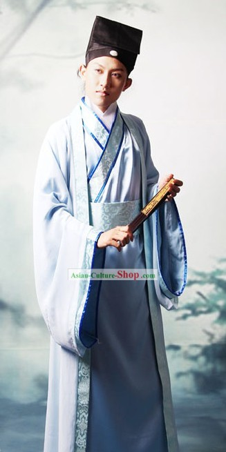 Ancient Chinese Intellectual Clothing and Hat Complete Set for Men