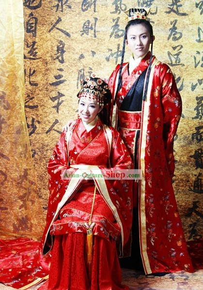 Chinese Classical Wedding Dresses and Headpieces Two Sets for Men and Women