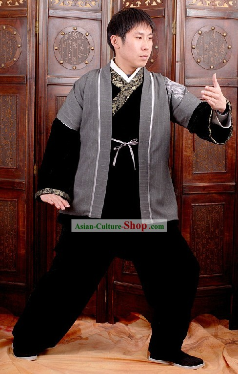 Traditional Kung Fu Embroidered Dragon Uniform for Men