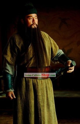Ancient Hero Guan Yu Costumes and Headpiece Complete Set for Men
