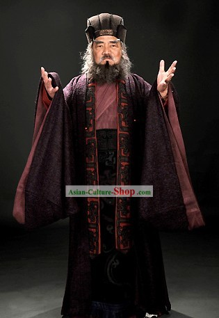 Three Kingdoms Dong Zhuo Costumes and Hair Accessories Complete Set