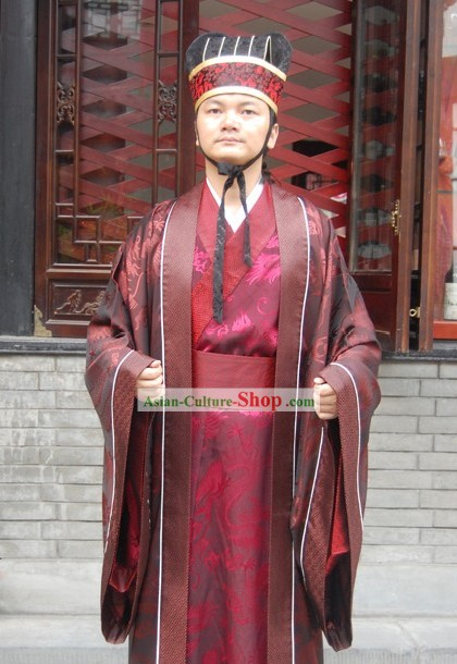 Ancient Chinese Male Hanfu Clothing and Hat for Men