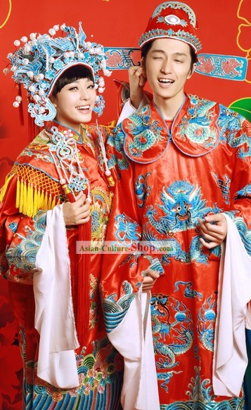 Traditional Mandarin Wedding Clothing Two Complete Sets for Bride and Bridegroom