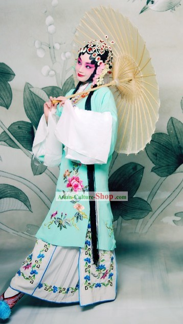 Beijing Opera Actress Long Sleeve Embroidered Costume Complete Set