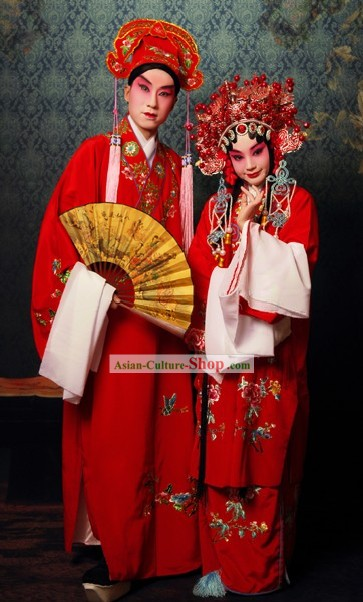 Chinese Beijing Opera Red Sheng and Dan Actress and Actor Two Costumes and Hats