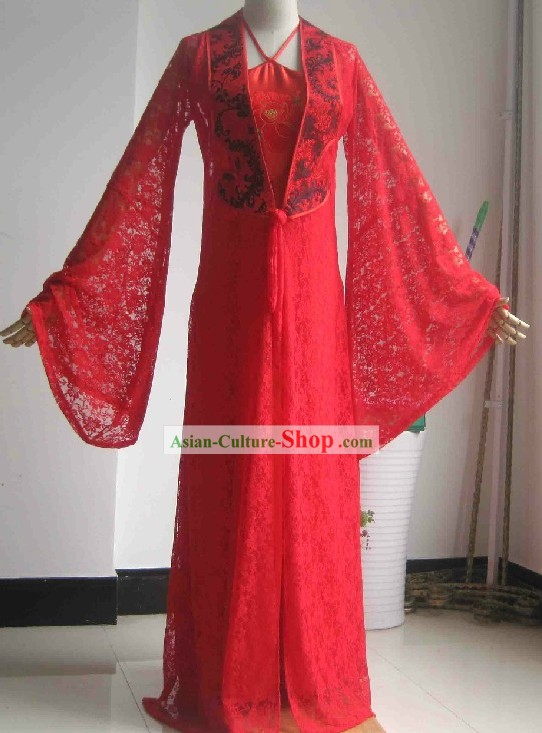 Chinese Classical Red Peony Wedding Dress for Brides