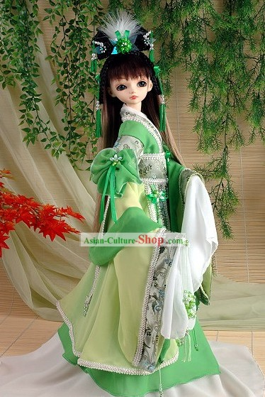 Ancient Chinese Imperial Princess Green Costumes, Hair Accessoreis and Wig Complete Set