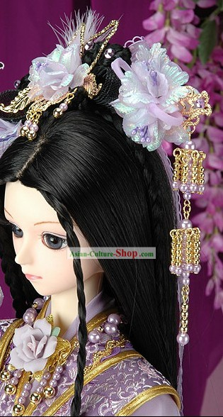 Ancient Chinese Princess Purple Hair Accessoreis and Wig Complete Set