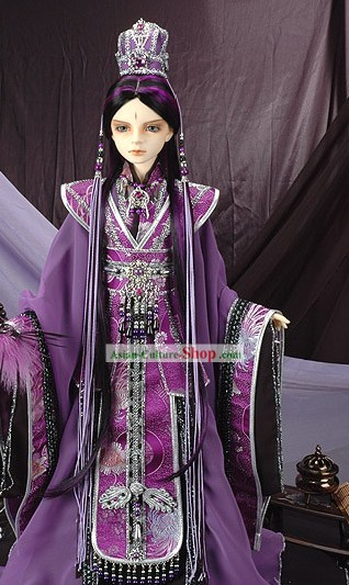 Ancient Chinese Palace Emperor Costumes and Crown Complete Set
