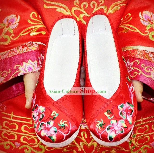 Chinese Classical Embroidered Flower Wedding Shoes for Women