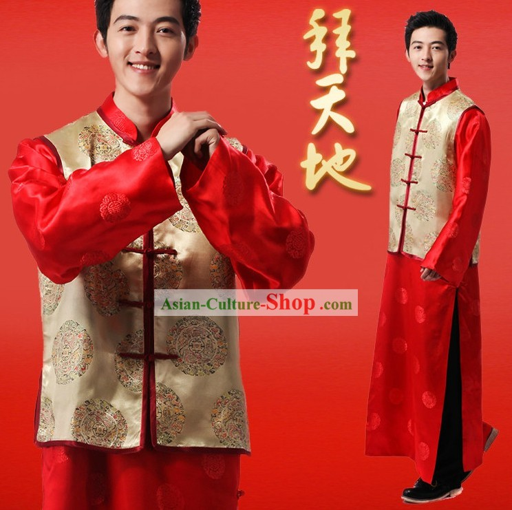Chinese Classic Red Wedding Ceremonial Dress Complete Set for Bridegrooms