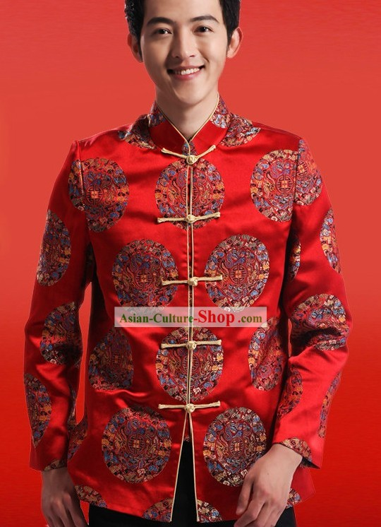 Traditional Chinese Red Silk Tang Suit for Men