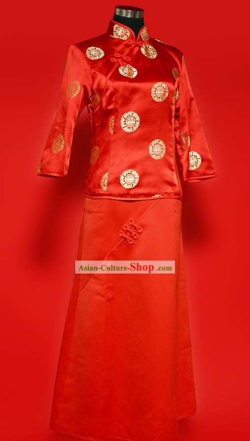 Chinese Old Style Red Xiao Feng Xian Wedding Suit