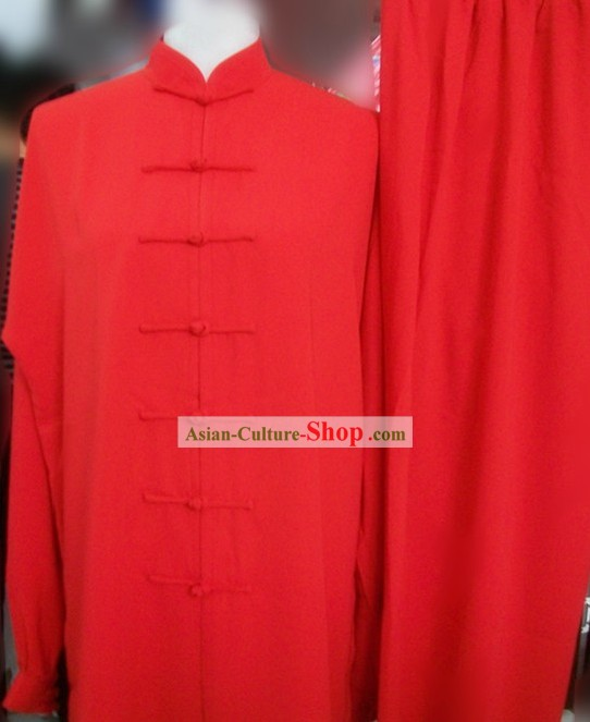 Chinese Classic Red Kung Fu Suit for Both Men and Women