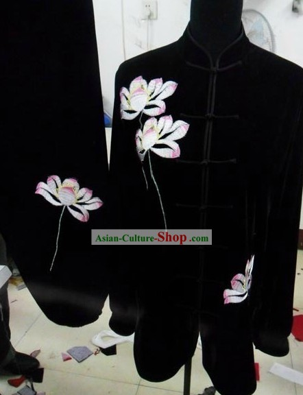 Black Silk Embroidered Lotus Kung Fu Uniform for Women