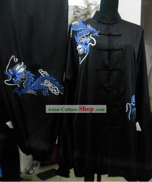 Black Silk Dragon Kung Fu Dress for Men