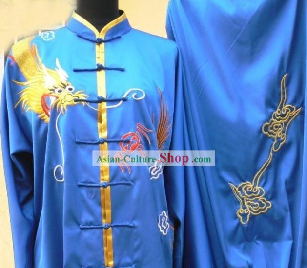 Blue Silk Kung Fu Tournaments Uniform for Men