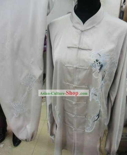 White Dragon Silk Taichi Kungfu Costumes for Men