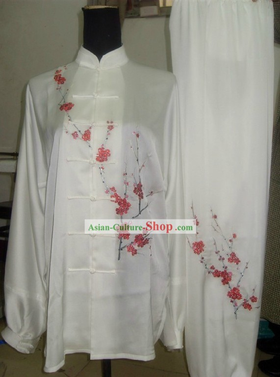 Supreme Silk Embroidered Plum Blossom Kung Fu Competition Costumes Complete Set