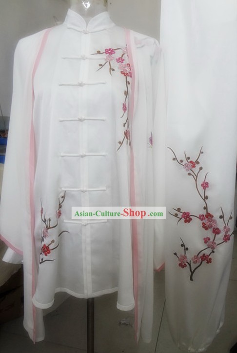 Supreme Silk Embroidery Plum Blossom Kung Fu Costume for Women