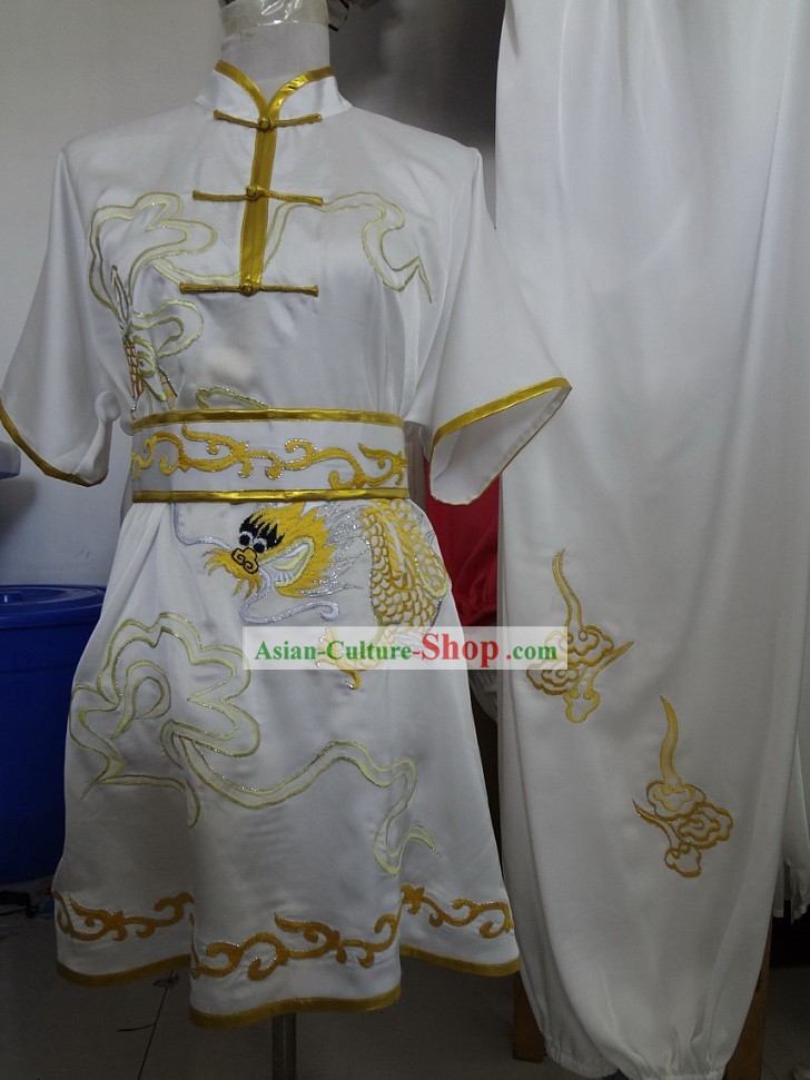 Supreme Silk White Embroidered Dragon Martial Arts Costumes for Men
