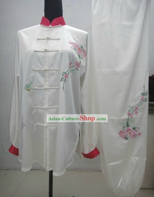 Plain White Embroidered Everflowering Rose Kung Fu Clothing Complete Set