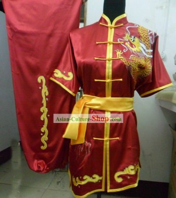 Stunning Silk Dragon Kung Fu Performance Costumes for Men