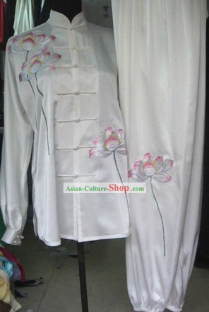 White Silk Lotus Embroidery Kung Fu Dress for Women