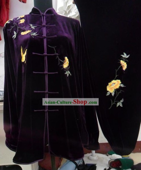 Purple Velvet Butterfly and Flower Embroidery Kung Fu Costumes Complete Set