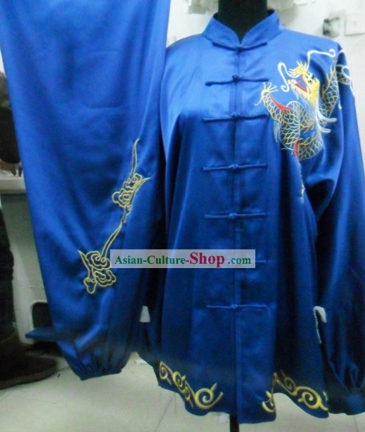 Blue Silk Dragon Kung Fu Contest Uniform for Men
