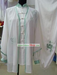 White Silk Martial Arts Clothes and Cape for Women