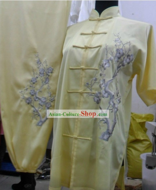 Light Yellow Mandarin Silk Kung Fu Dress for Women