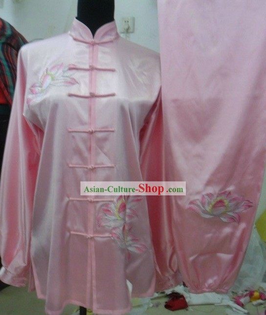 Pink Silk Lotus Kung Fu Wu Shu Uniform for Women
