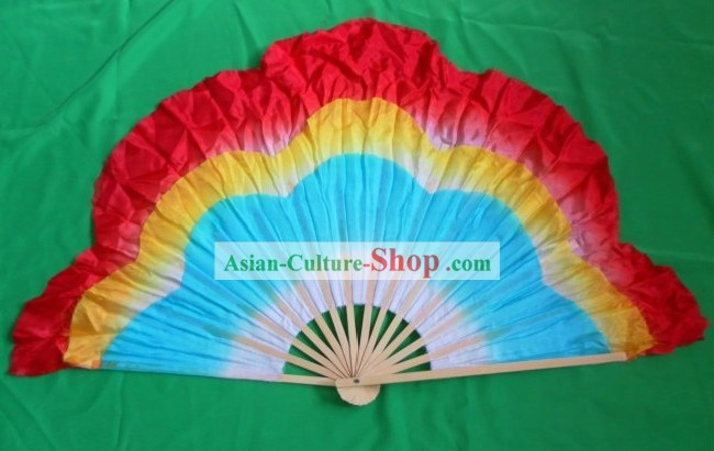 Traditional Plum Blossom Shape Three Layers Silk Dancing Fan