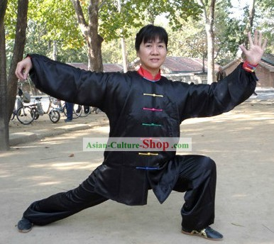 Supreme Black Kung Fu Competition Silk Clothing for Women or Men