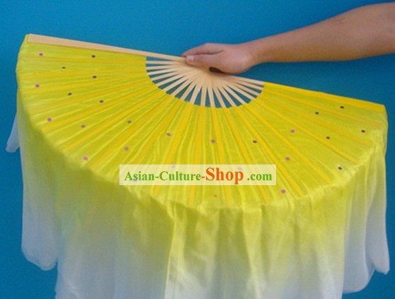 Chinese Yellow Classic Silk Dance Fan